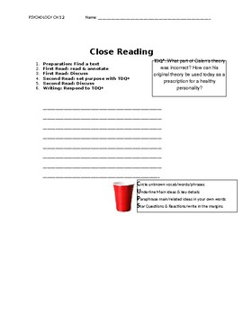 Ch 1.2 Psychology - Close Reading of a Primary Source - Common Core Worksheet