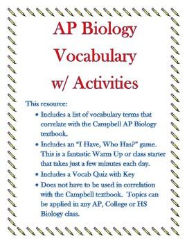 Ch 1 - 10 Campbell AP Bio Vocab SAVINGS BIG BUNDLE