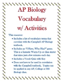Ch 1 - 10 Campbell AP Bio Vocab SAVINGS BIG BUNDLE