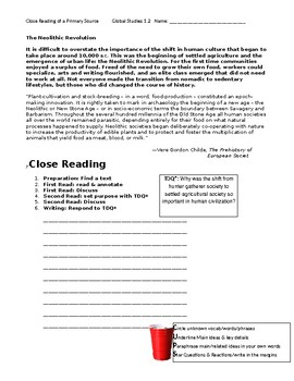 Ch 1.2 World History Close Reading of a Primary Source - Common Core Worksheet