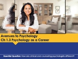 Ch 1.3 Psychology as a Career - Avenues to Psychology