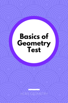 Ch.1 - Basics of Geometry (test) 3 versions with KEY