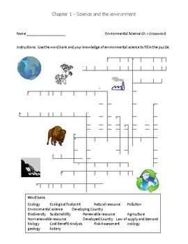 Free Ch 1 Environmental Science Crossword Puzzle