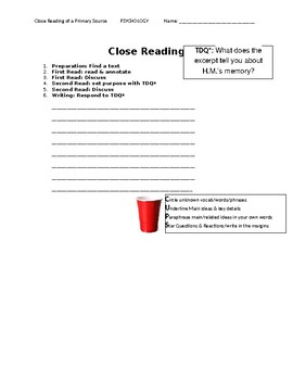 Ch 10.1 Psychology - Close Reading of a Primary Source - Common Core Worksheet