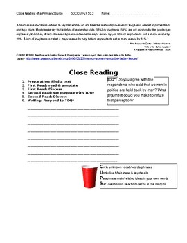 Ch 10.3 Sociology - Close Reading of a Primary Source - Common Core Worksheet