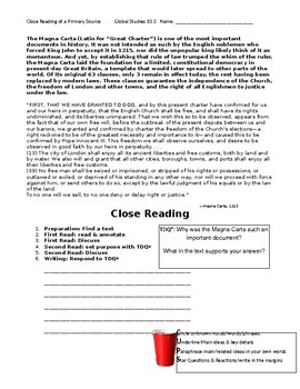 Ch 10.3 World History Close Reading of a Primary Source - Common Core Worksheet