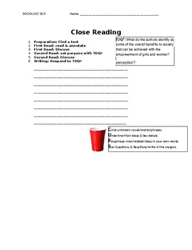 Ch 10.5 Sociology - Close Reading of a Primary Source - Common Core Worksheet