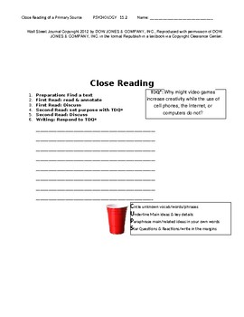 Ch 11.2 Psychology - Close Reading of a Primary Source - Common Core Worksheet