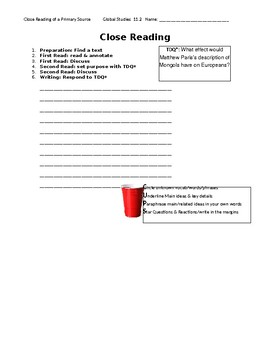 Ch 11.2 World History Close Reading of a Primary Source - Common Core Worksheet