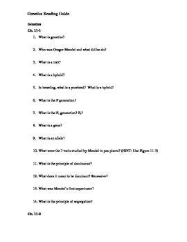 Ch. 11 Genetics Guided Reading Questions (Biology Outline)