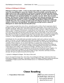 Ch 12.1 World History Close Reading of a Primary Source - Common Core Worksheet