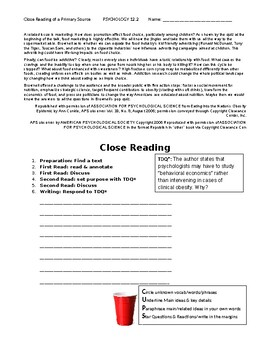 Ch 12.2 Psychology - Close Reading of a Primary Source - Common Core Worksheet