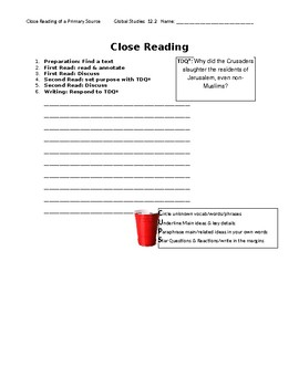 Ch 12.2 World History Close Reading of a Primary Source - Common Core Worksheet