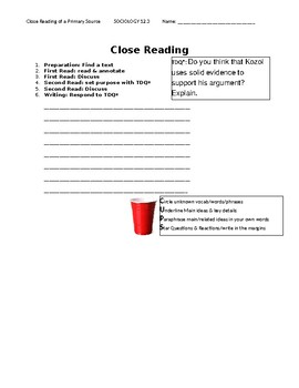 Ch 12.3 Sociology - Close Reading of a Primary Source - Common Core Worksheet