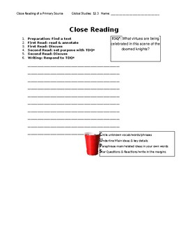 Ch 12.3 World History Close Reading of a Primary Source - Common Core Worksheet