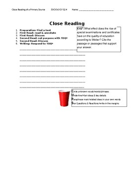 Ch 12.4 Sociology - Close Reading of a Primary Source - Common Core Worksheet