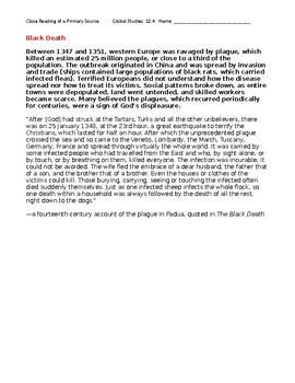 Ch 12.4 World History Close Reading of a Primary Source - Common Core Worksheet