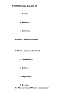 Ch. 12-13 DNA RNA Guided Reading Questions (Biology Outline)