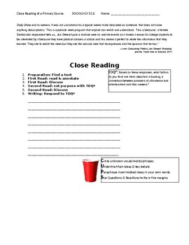 Ch 13.2 Sociology - Close Reading of a Primary Source - Common Core Worksheet
