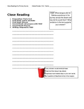 Ch 13.2 World History Close Reading of a Primary Source - Common Core Worksheet