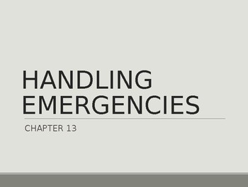Driver's Education Ch. 13 Power Point Handling Emergencies