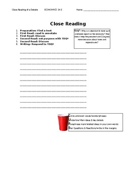 Ch 14.1 Economics - Close Reading of a Case Study - Common Core Worksheet