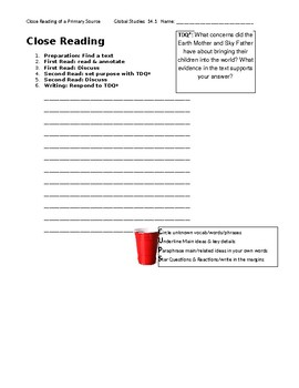 Ch 14.1 World History Close Reading of a Primary Source - Common Core Worksheet
