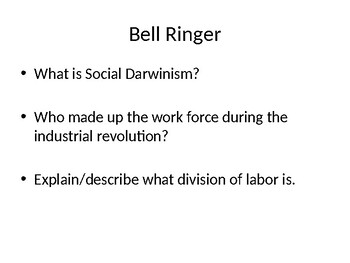 Ch 14 & 15 People and Society in the Industrial Revolution