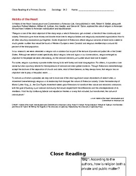 Ch 14.3 Sociology - Close Reading of a Primary Source - Common Core Worksheet