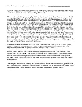 Ch 14.3 World History Close Reading of a Primary Source - Common Core Worksheet