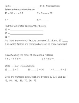 Ch. 14 Progress Check in Progress in Mathematics