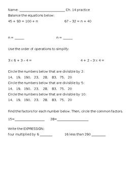 Ch. 14 Progress in Math Practice Sheet