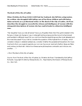 Ch 15.2 World History Close Reading of a Primary Source - Common Core Worksheet