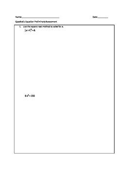 Ch 1.5 (Quadratic Equation) Quiz