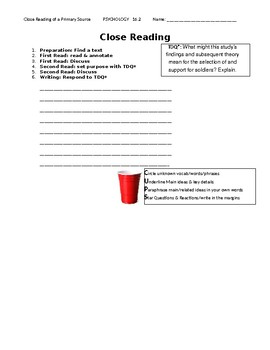 Ch 16.2 Psychology - Close Reading of a Primary Source - Common Core Worksheet