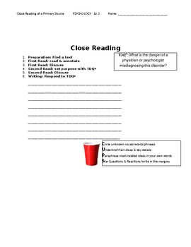 Ch 16.3 Psychology - Close Reading of a Primary Source - Common Core Worksheet
