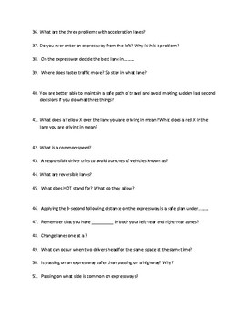 """Driver's Education Ch. 16  """"Driving on Highways"""" Study Guide"""