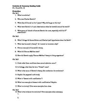 ch 16 and 18 evolution taxonomy guided reading questions biology rh teacherspayteachers com Prentice Hall Biology Chapter 18 AP Biology Chapter 18