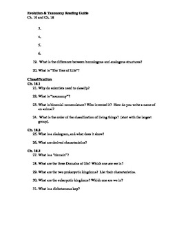 Ch. 16 and 18 Evolution & Taxonomy Guided Reading Questions (Biology Outline)