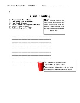 Ch 2.2 Economics - Close Reading of a Case Study Text - Common Core Worksheet