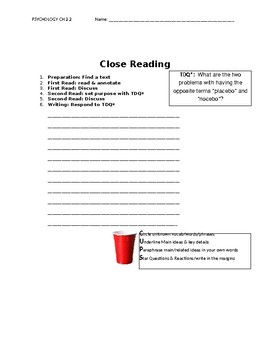 Ch 2.2 Psychology - Close Reading of a Primary Source - Common Core Worksheet