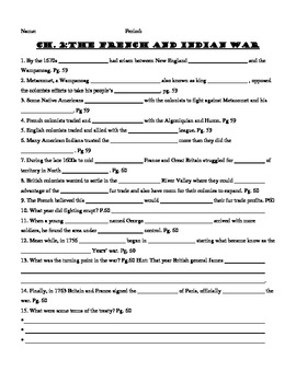 Ch. 2 (Holt)  French and Indian War Worksheet
