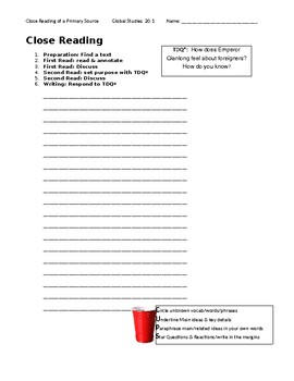 Ch 20.1 World History Close Reading of a Primary Source - Common Core Worksheet