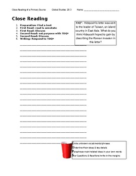 Ch 20.3 World History Close Reading of a Primary Source - Common Core Worksheet