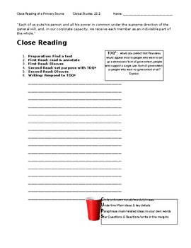 Ch 21.2 World History Close Reading of a Primary Source - Common Core Worksheet