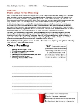 Ch 3.1 Economics - Close Reading of a Case Study Text - Common Core Worksheet