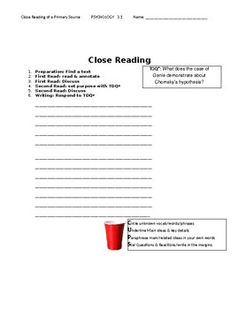 Ch 3.1 Psychology - Close Reading of a Primary Source - Common Core Worksheet
