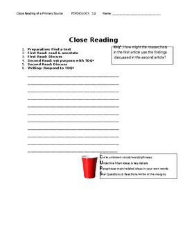 Ch 3.2 Psychology - Close Reading of a Primary Source - Common Core Worksheet