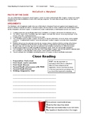 Ch 3.2 US Government - Close Reading of Supreme Court Case Common Core Worksheet