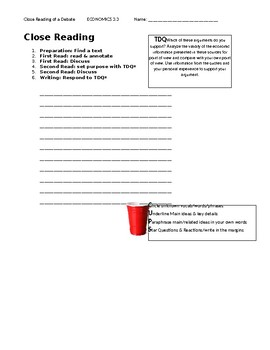Ch 3.3 Economics - Close Reading of a Debate Text - Common Core Worksheet